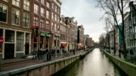HD Time-lapse Zoom: Amsterdam Canal Red Light District, Netherland video