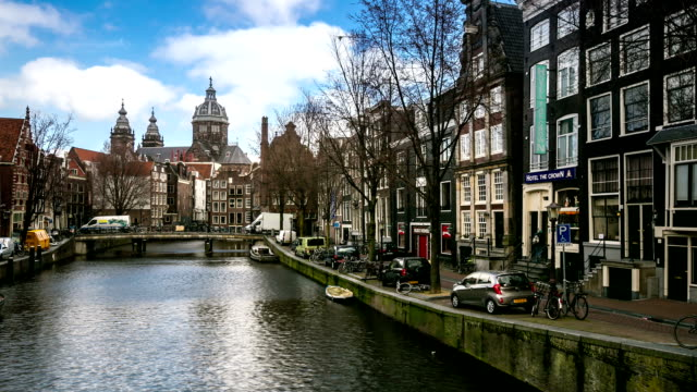 HD time-lapse zoom out: Amsterdam Canal Church of Saint Nicholas video