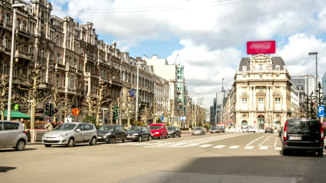 HD Time-lapse Zoom out: City Pedestrian in Brussels Belgium video