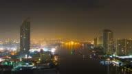 4K - Time-lapse : Zoom-in Bangkok city sunset Chao Phraya River video