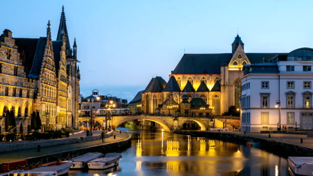 HD time-lapse Zoom-out: Ghent ancient town Saint Michael Church Belgium video