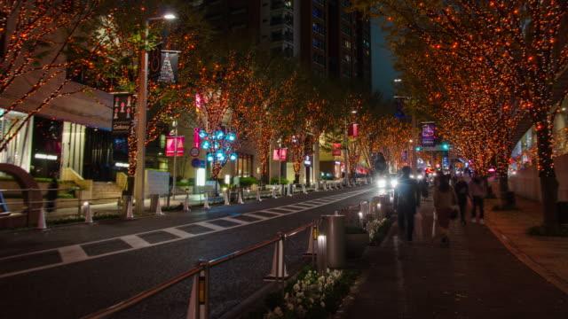 4K Time-lapse Zoomout :Keyakizaka Street at Roppongi in Tokyo , Japan video