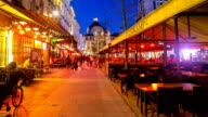 HD time-lapse zoom-out: Nightlife City Pedestrian Antwerp Central Station Belgium video