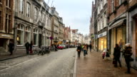 HD time-lapse zoom-out: Shopping street Historic town at Bruges Belgium video