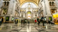 HD time-lapse zoom-out: Tourist pedestrian travelling at Antwerp Central Station Belgium video