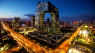 TimeLapse-Beijing Central Business district buildings skyline, China cityscape video
