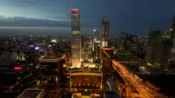 TimeLapse-Beijing Central Business district buildings skyline in night, China cityscape video