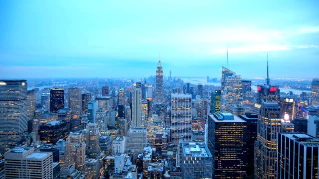 HD Time-lapse:City Manhattan skyline at sunset video
