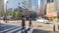 4K Time-lapsed : Crowds across the road in nihonbashi video