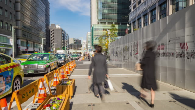 4K Time-lapsed : Crowds on the road in nihonbashi video