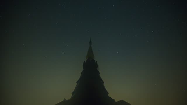 4K Time-lapsed of Stars Sky Turning Space Astrophotography on Pagoda video