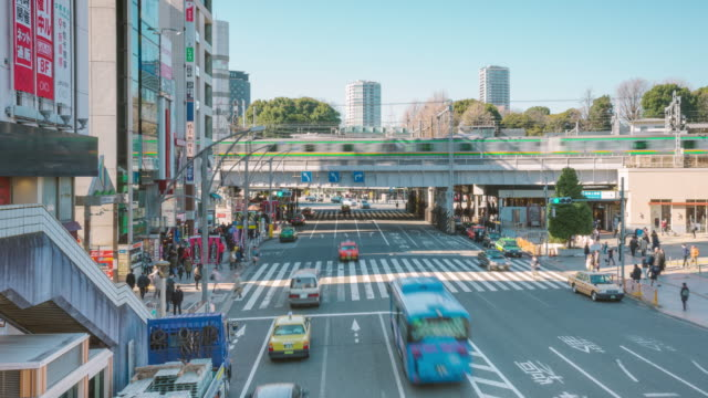 4K time-lapsed of Ueno district view from overpass near the Ueno train station video