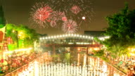 HD timelapse,Floating the candle basket with fireworks,loykrathong festival,bangkok thailand video
