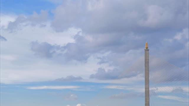 HD Timelapse:Rama VIII bridge and moving cloud on sky. video