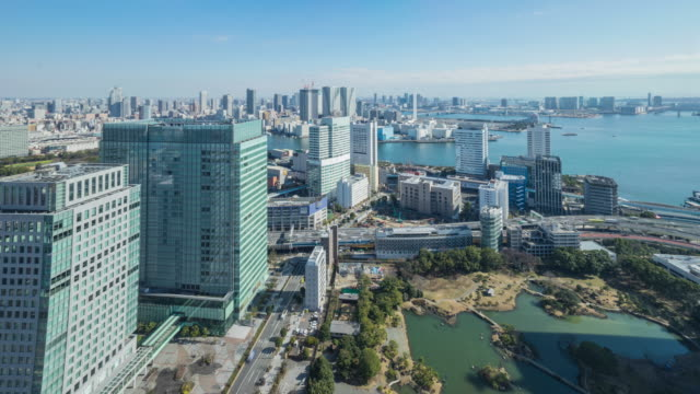 4K Time-lapse:Tokyo cityscape near the harbour in Tokyo, Japan video