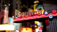Times Square Subway Station Flashing Lights in Manhattan NYC Night video