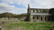 Tintern Abbey Monmouthshire near Chepstow Wales UK popular tourist destination pan video