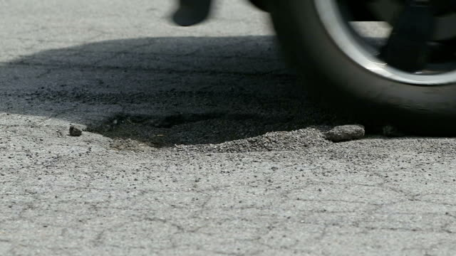 Tire Hits Pothole Close Up Slow Motion video