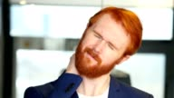 Tired Businessman with Red Hair, Beard video
