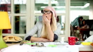 Tired businesswoman video