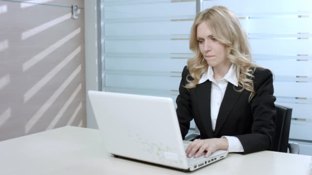 Tired clerk finish the job. video