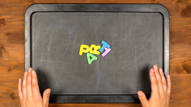 Title part one stop motion animation with foam letters video