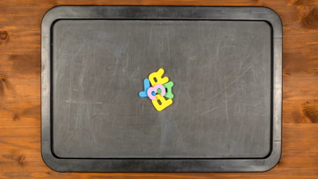 Title part three stop motion animation with foam letters video