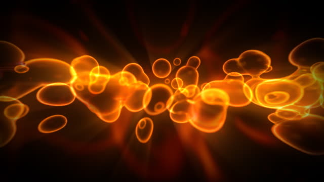 Titles. Abstract background. Bubble Blobs - Hot yellow and red video