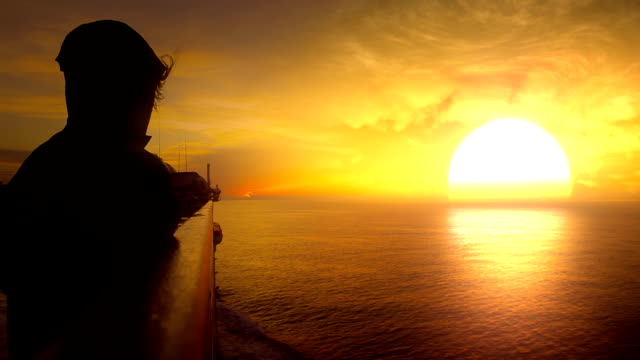 Titles. Travel new direction. Looking at sunset/sunrise and sea video