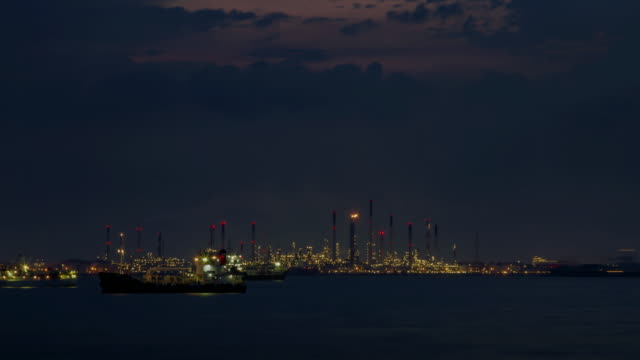 4K TIME LAPSE NIGHT to DAY (4096x2160) : The oil refineries at Singapore(Apple ProRes. 422(HQ)) video