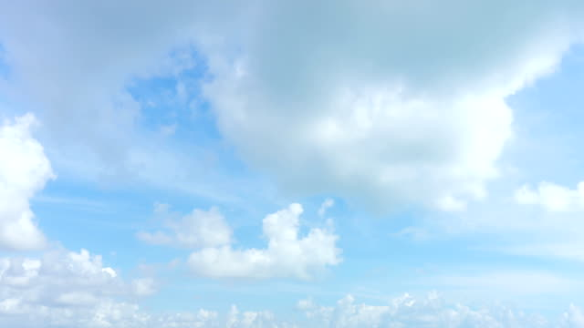 4K/UHD to HD Time-lapse : Cloudscape timelapse, white clouds running across the blue sky. video