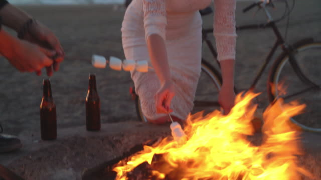 Toasting marshmallows on a campfire video