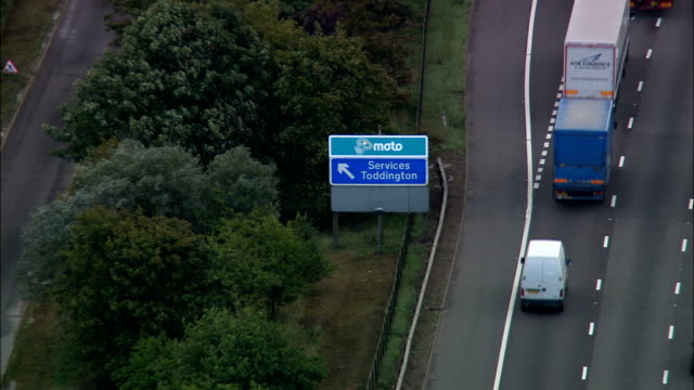 Toddington Services On the M1  - Aerial View - England, Central Bedfordshire, United Kingdom video