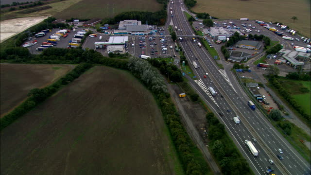 Toddington Services on the M1 - Aerial View - England, Oldham, Saddleworth, United Kingdom video