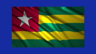 Togo flag waving,loopable on blue screen video