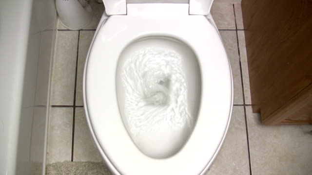 Toilet being Flushed Top Down View video