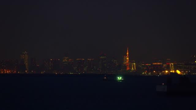 Tokyo Downtown skyline seen over Tokyo Bay video