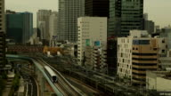 Tokyo, Japan. High Definition video of Trains in Tokyo moving through the city, between the tall buildings. video