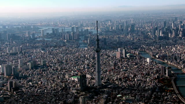 Tokyo Sky Tree Aerial view from Helicopter video