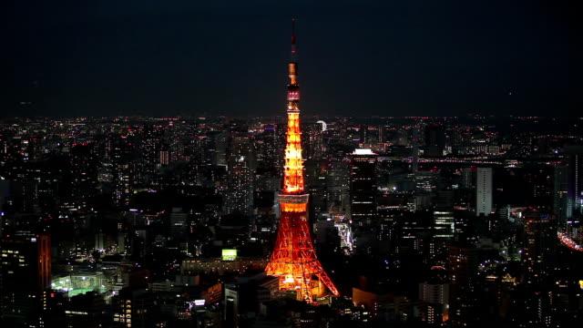 Tokyo skyline night time video