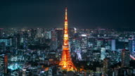 Tokyo skyline night timelapse and tokyo tower video