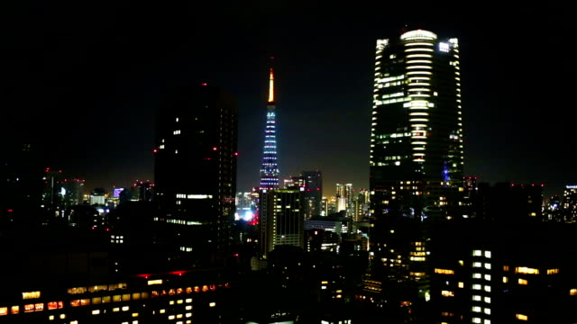 Tokyo Tower and Skyscraper Skyline at Night video