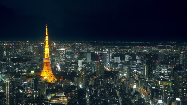 tokyo tower at night with cityscape video