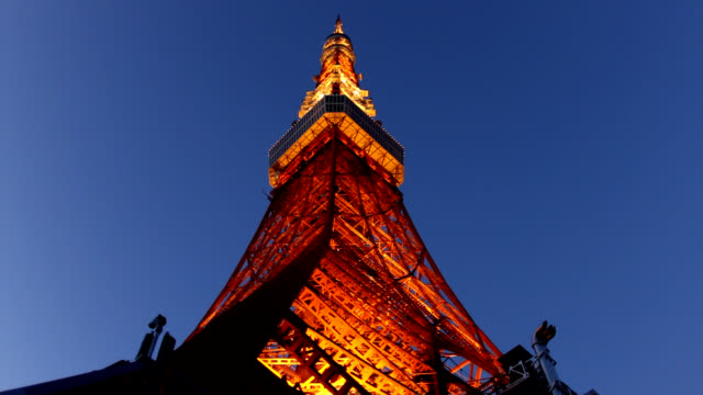 Tokyo Tower light up at dusk video