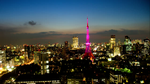 Tokyo Tower light up time lapse at dusk video
