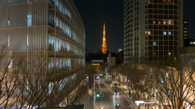 Tokyo Tower with Traffic Street at night video