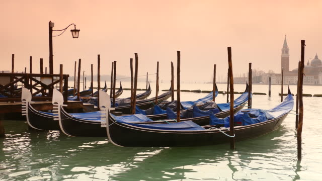 Toned image of gondolas in front of St. Marc's square, Italy video