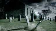 Toned Time Lapse of Abandoned Church and Cemetery video