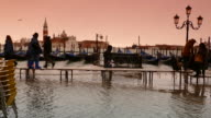 4K Toned view of flood on St. Marc's square in Venice, Italy video