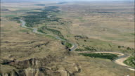 Tongue River  - Aerial View - Montana, Custer County, United States video